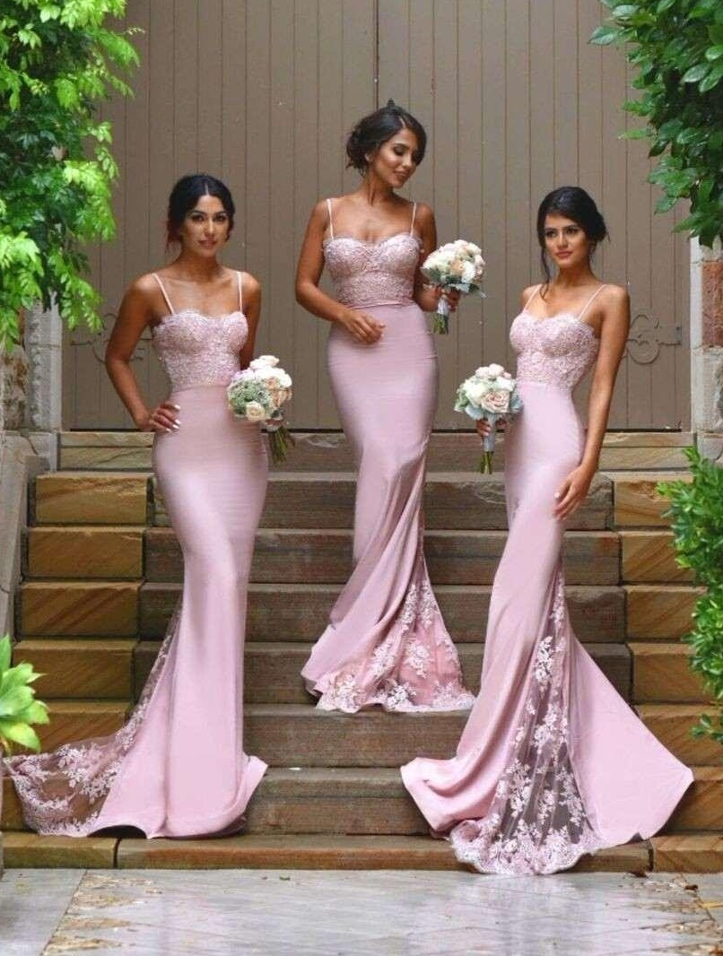 9e75c310c2e Sexy Spaghetti Straps Mermaid Bridesmaid Dresses Lace Applique Fitted Prom Dresses  Wedding Party Dresses with Train
